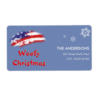 Kerstmis van Woofy van de Vlag van de V.S. Rode Etiket