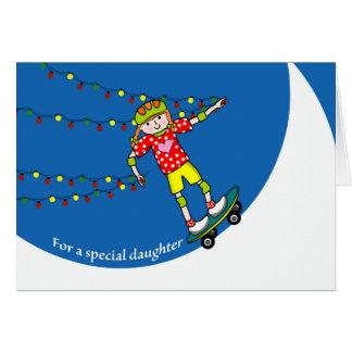 Kerstmis voor Dochter, het Met een skateboard Briefkaarten 0