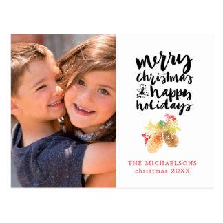 Kerstmis | Waterverf - Gelukkig Vakantie Pinecones Briefkaart