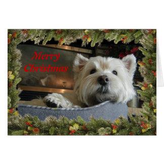 Kerstmis Westie met het Wenskaart van de Foto van