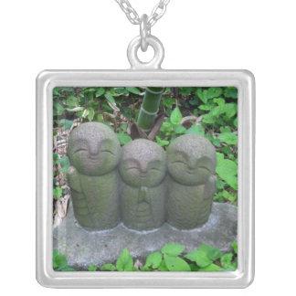 Ketting-drie Jizo Zilver Vergulden Ketting