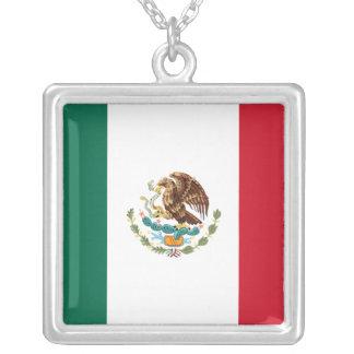 Ketting van de Vlag van Mexico het Echte Zilveren