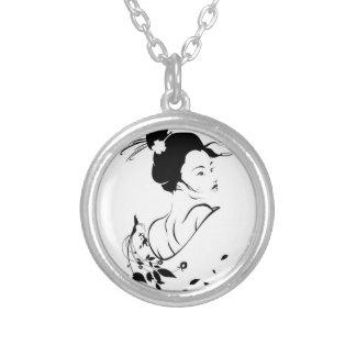 ketting, zilver, geisha, Japan Zilver Vergulden Ketting