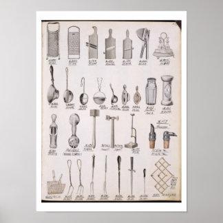 Keukengerei, van een handelscatalogus van het mees poster