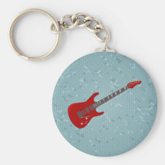 Keychain met elektrische gitaarillustratie basic ronde button sleutelhanger