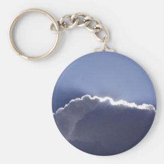 Keychain met foto van wolk met zilveren voering basic ronde button sleutelhanger