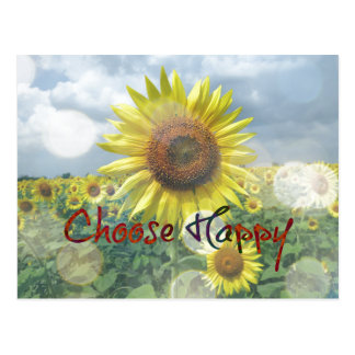 Kies Gelukkig Citaat met Zonnebloemen Briefkaart