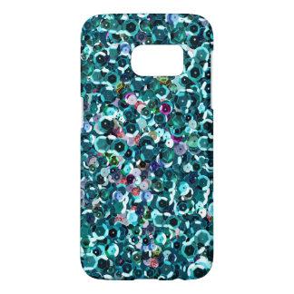 Kiezelachtige Lovertjes Aqua Blauwe Faux Samsung Galaxy S7 Hoesje