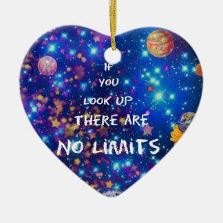 Kijk omhooggaand en u ziet wonder ons omringt keramisch hart ornament