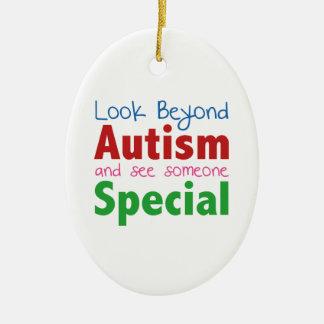 Kijk voorbij Autisme en zie Speciaal iemand Keramisch Ovaal Ornament
