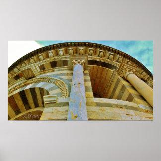 Kijkend omhoog de Leunende Toren, de Druk van het Poster