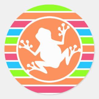 Kikker; De Oranje Roze Blauwgroene Strepen van het Ronde Sticker