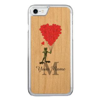 Kikker en rood hartmonogram carved iPhone 7 hoesje