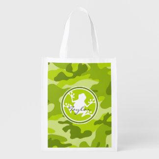 Kikker;  groene camo, camouflage shopper