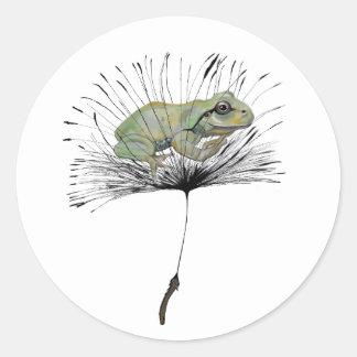 Kikker in zaad ronde sticker