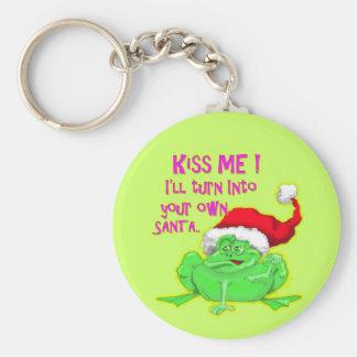 Kikker met het pet Grappig spreuk van de Kerstman Basic Ronde Button Sleutelhanger