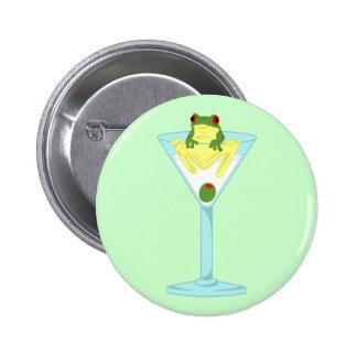 Kikker & Olijf in het Glas van Martini Ronde Button 5,7 Cm