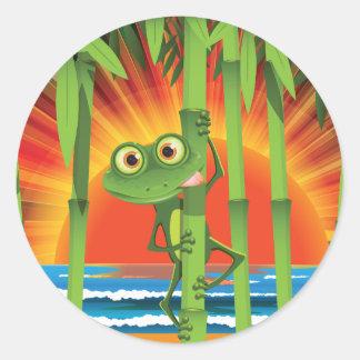 Kikker op de Stickers van het Bamboe