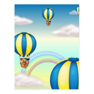 kind in hete luchtballon wenskaarten