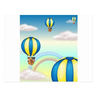 kind in hete luchtballon briefkaart