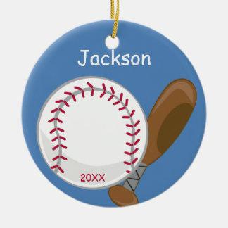 Kinder Gepersonaliseerd Honkbal en Knuppel Rond Keramisch Ornament