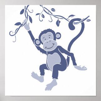 Kinder grafisch blauw aapposter poster