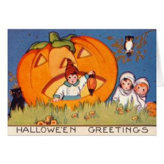Kinder Halloween, Grote Pompoen, Oude Mode, zegent Kaart