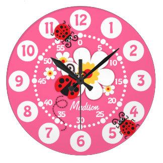 Kinder lieveheersbeestje & van bloemen leuke roze ronde klok large