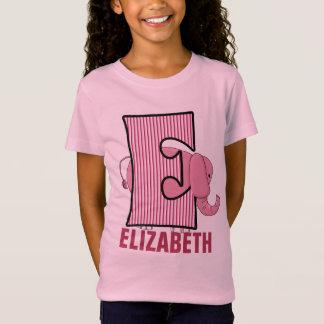 Kinder Monogram | Roze Gestreepte Olifant | van T Shirt