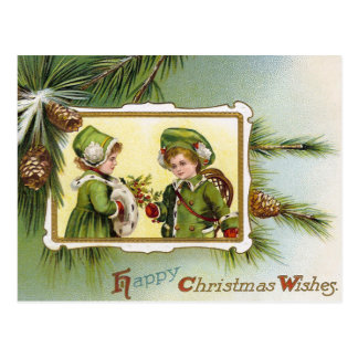 Kinder pineconebriefkaart van de vintage Vakantie Briefkaart