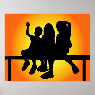 Kinder Silhouet Poster