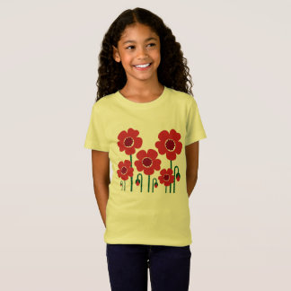 Kinder t-shirt geel met RODE PAPAVER