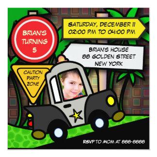 Kinder verjaardagsUitnodiging: Politie 052 13,3x13,3 Vierkante Uitnodiging Kaart