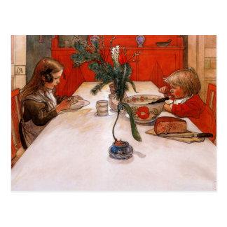 Kinderen die Avondmaal eten Briefkaart