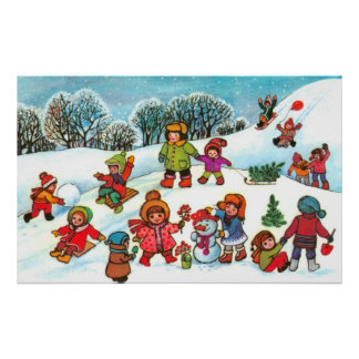 Kinderen die in de sneeuw spelen poster