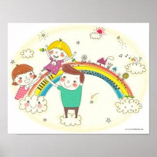 Kinderen die op regenboog spelen poster