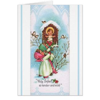 Kinderen die rozen brengen aan het Baby Jesus Briefkaarten 0