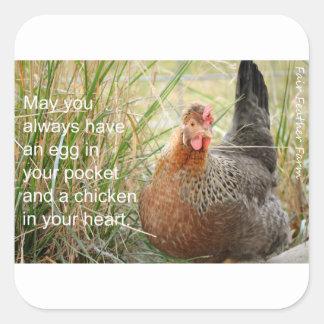 kip in uw hart vierkante sticker