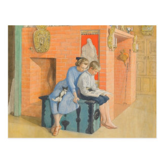 Kirsti en Esbjorn die een Boek samen lezen Briefkaart