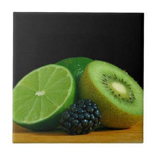 Kiwi, Limoen en Blackberry Tegeltje
