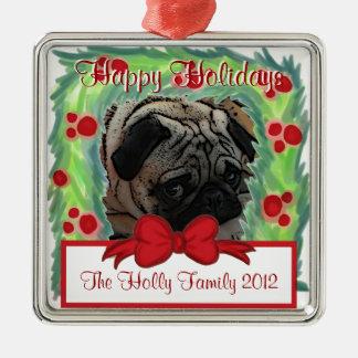 Klantgericht Kerstmisornament van de kroonfoto Zilverkleurig Vierkant Ornament
