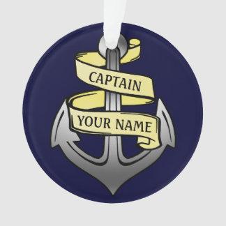 Klantgericht Schip Kapitein Your Name Anchor Ornament