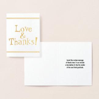 "Klantgerichte Gouden Folie ""Liefde & Bedankt!"" Folie Kaarten"
