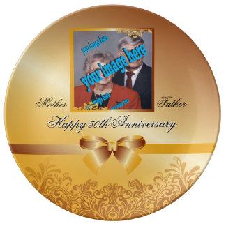 Klantgerichte het Jubileum van de gouden bruiloft Porselein Borden