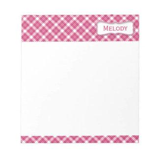 Klantgerichte Roze en Witte Plaid Notitieblok