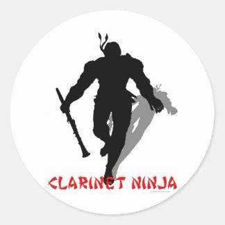 Klarinet Ninja Ronde Sticker