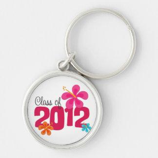 Klasse van 2012 Roze Hibiscus Bloemen Sleutelhanger
