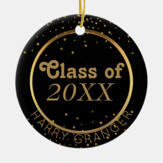 Klasse van de Afstuderen van de douane de Zwarte Rond Keramisch Ornament