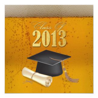 Klasse van de Afstuderen van Themed van het Bier 13,3x13,3 Vierkante Uitnodiging Kaart