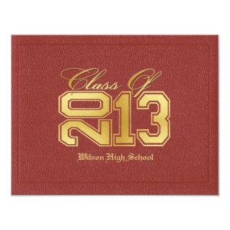 Klasse van Themed van het diploma de Rode & Gouden 10,8x13,9 Uitnodiging Kaart